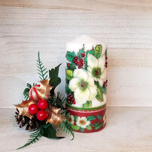 Load image into Gallery viewer, White Christmas flower pillar candle Wax pillar candle Candle Affair