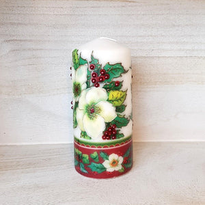White Christmas flower pillar candle Wax pillar candle Candle Affair