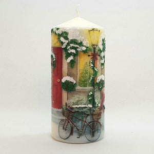 Red door Christmas pillar candle [product_type] Candle Affair