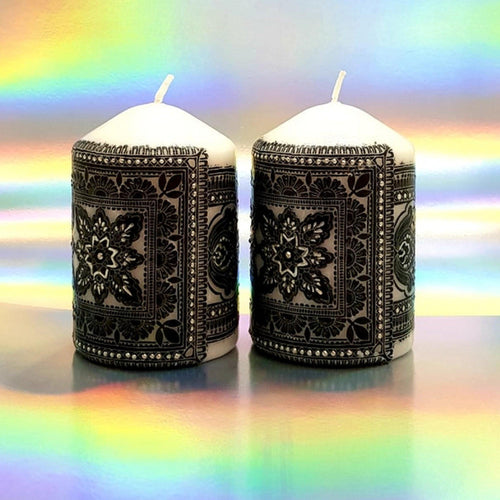 Black and White Pillar candles [product_type] Candle Affair