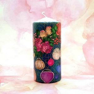 Roses and Lanterns Pillar candle [product_type] Candle Affair