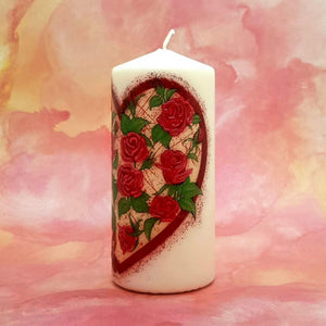 Large pillar candle Heart of Love Wax pillar candle Candle Affair