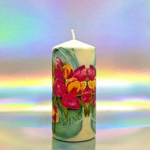 Colours of Spring Large pillar candle Wax pillar candle Candle Affair