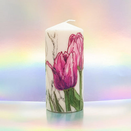 Pink Tulips Large pillar candle Wax pillar candle Candle Affair