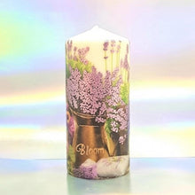 Load image into Gallery viewer, Purple Bloom Large pillar candle Wax pillar candle Candle Affair