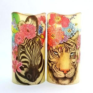 Floral Zebra and Tiger LED wax pillar candles - Candle Affair
