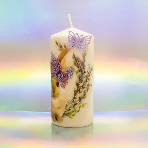 Easter hand decorated pillar candles, Easter decor and gift