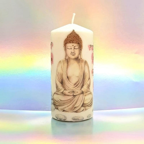 Inner Peace and Strength Large pillar candle Flowers CandleAffair