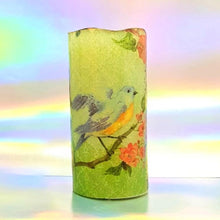 Load image into Gallery viewer, Pastel birds LED pillar candle LED Candles CandleAffair