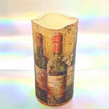 Load image into Gallery viewer, Large LED pillar candle, Wine lovers gift, Flameless unique home and garden decor, perfect gift for her, him, mom