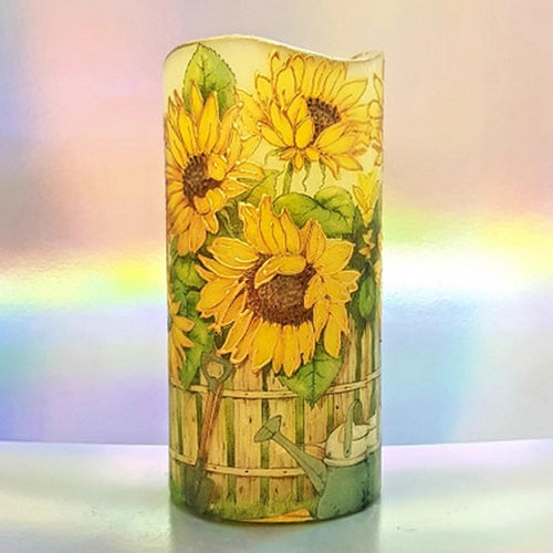 Large LED floral decorative pillar candle, Flameless unique home and garden decor, perfect gift for her, him, mom