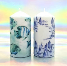 Load image into Gallery viewer, Large decorative pillar candles, summer sea vibes art design, unique home decor, gift for any occasion