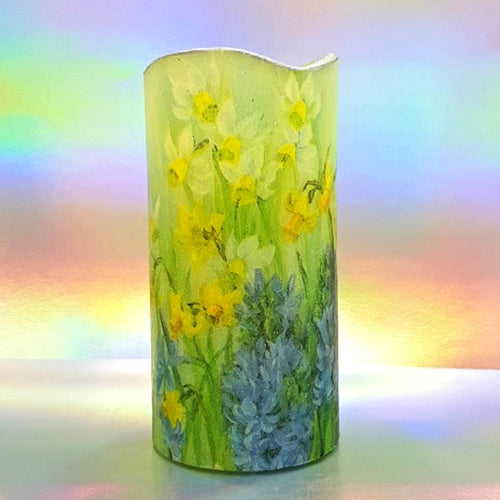 Flickering flameless LED shimmering pillar candle, unique home and garden decor, perfect gift for mom, best friend