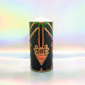Large decorative pillar candle, Vintage design black and gold hand decorated candle, unique gift