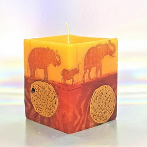 Scented candle, Aromatherapy candle, Unique art candle, Elephant sunset design