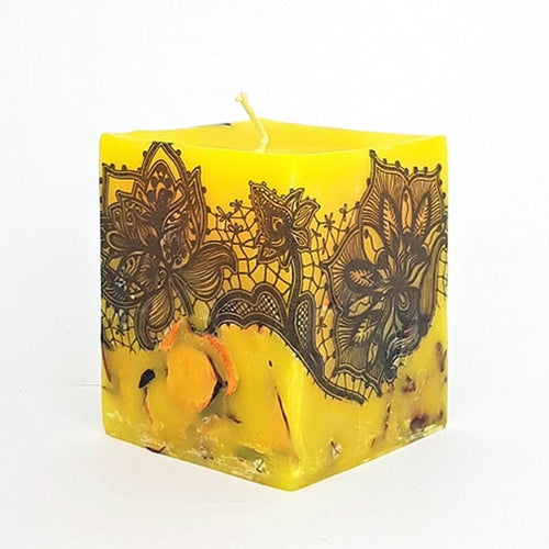 Large scented candle, Handmade aromatherapy candle, Ylang Ylang scent, Unique hand decorated gift