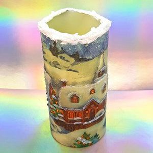 Decorative Christmas flickering flameless pillar candle, Traditional Christmas decoration and gift, 3D effect snow candle