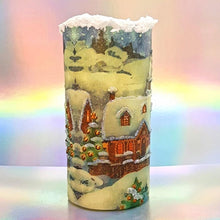 Load image into Gallery viewer, Decorative Christmas flickering flameless pillar candle, Traditional Christmas decoration and gift, 3D effect snow candle