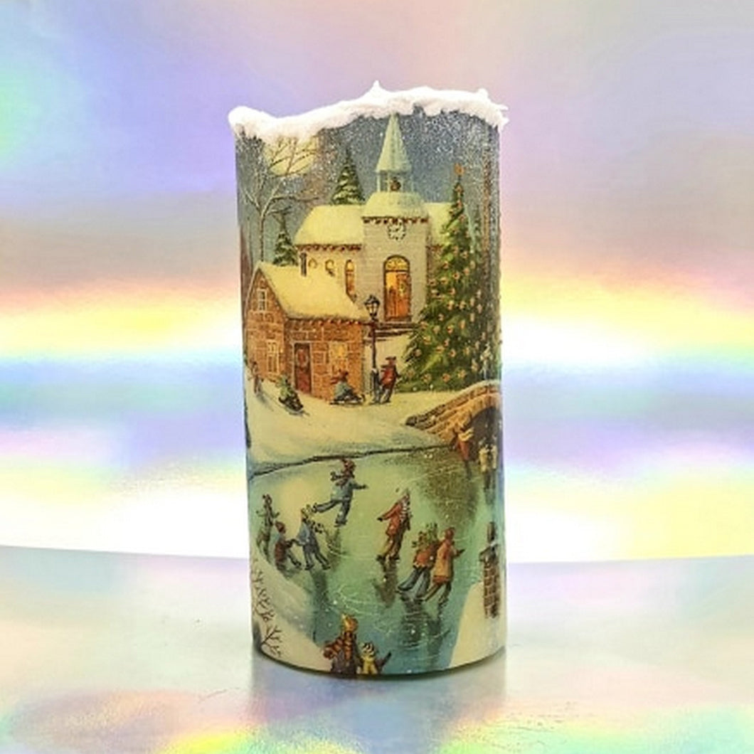 Christmas LED flickering flameless pillar candle, unique Christmas decoration, gift, snow candle