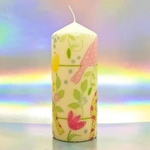 Load image into Gallery viewer, Large decorative pillar candle, Pastel birds unique design hand decorated candle
