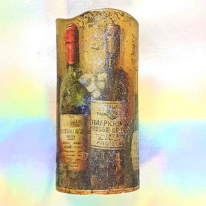 Large LED pillar candle, Wine lovers gift, Flameless unique home and garden decor, perfect gift for her, him, mom