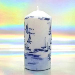 Large decorative pillar candles, summer sea vibes art design, unique home decor, gift for any occasion