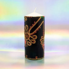 Load image into Gallery viewer, Large decorative pillar candle, Vintage design black and gold hand decorated candle, unique gift