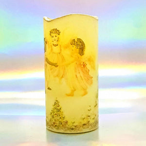 Three Angels Christmas LED flickering flameless pillar candle, unique Christmas decoration, gift, safe for children and pets