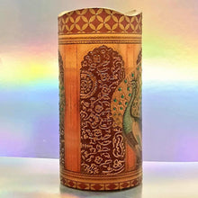Load image into Gallery viewer, Flameless LED pillar candle of golden palace peacocks, unique 3d effect hand decorated home decor, gift