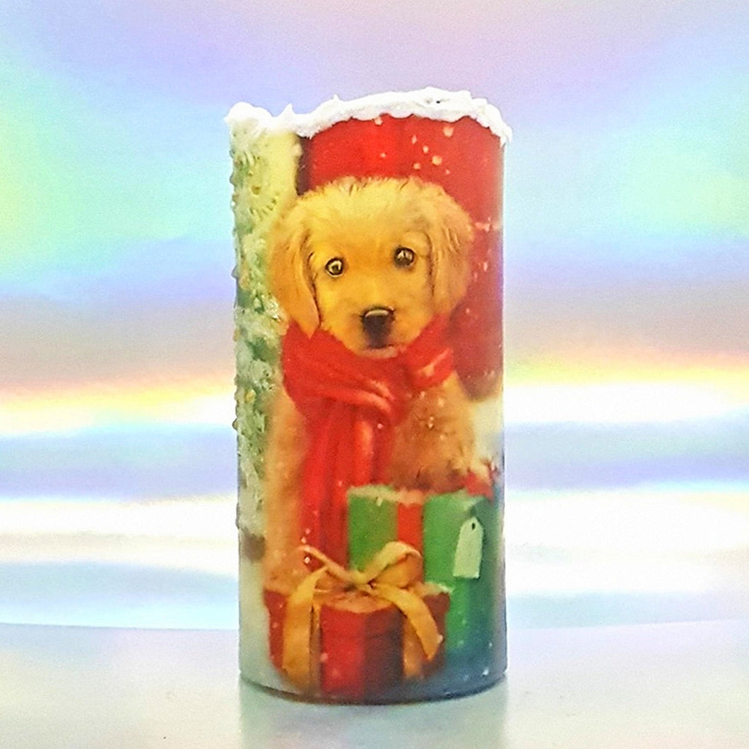 Christmas Flickering LED pillar candle, unique Christmas flameless decoration, gift, snow candle, safe for children and pets