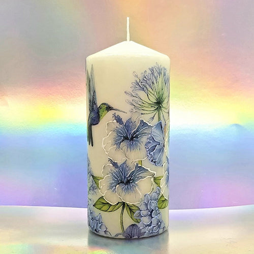 Decorative pillar candle with floral design and  hummingbird, Unique home decor, gift for her, mom, friend