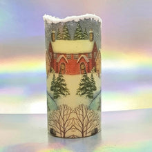 Load image into Gallery viewer, Christmas LED flickering flameless pillar candle, unique Christmas decoration, gift, snow candle