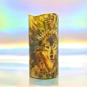 LED pillar candle, White wolf decorative candle, Unique home decor, gift, art candle