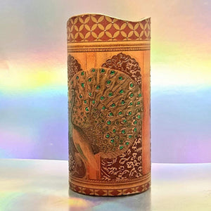 Flameless LED pillar candle of golden palace peacocks, unique 3d effect hand decorated home decor, gift