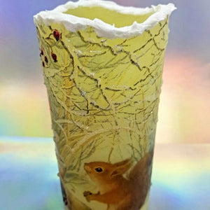 Christmas flameless LED pillar candle, unique Christmas flickering candle decor, gift, snow candle, safe for children and pets