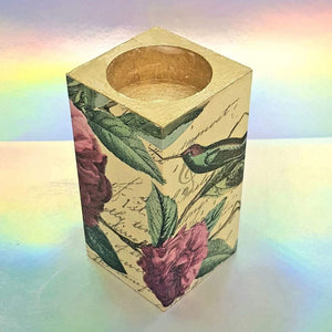 Wooden tea light candle holder, unique home decor, gift, house warming present, tropical paradise