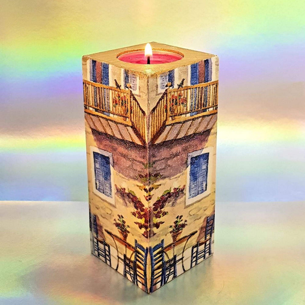 Wooden tea light candle holder, unique holiday memorabilia, home decor, gift, house warming present, fire place décor