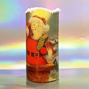 Christmas flameless LED pillar candle, unique decorative flickering Santa candle decor night light, gift, safe for children and pets