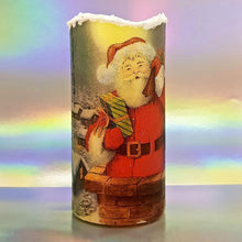 Load image into Gallery viewer, Christmas flameless LED pillar candle, unique decorative flickering Santa candle decor night light, gift, safe for children and pets