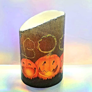 Halloween LED pillar candle, unique decorative flameless shimmer and sparkle candle decor night light, gift, safe for children and pets