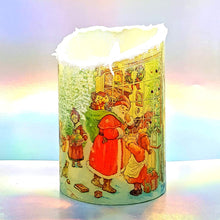 Load image into Gallery viewer, Christmas snow effect LED pillar candle, decorative flameless shimmer and sparkle candle decor night light, gift, safe for children and pets