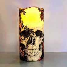 Load image into Gallery viewer, Halloween flameless LED pillar candle, unique decorative shimmer and sparkle candle decor night light, gift, safe for children and pets