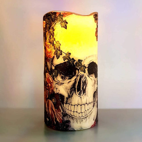 Halloween flameless LED pillar candle, unique decorative shimmer and sparkle candle decor night light, gift, safe for children and pets