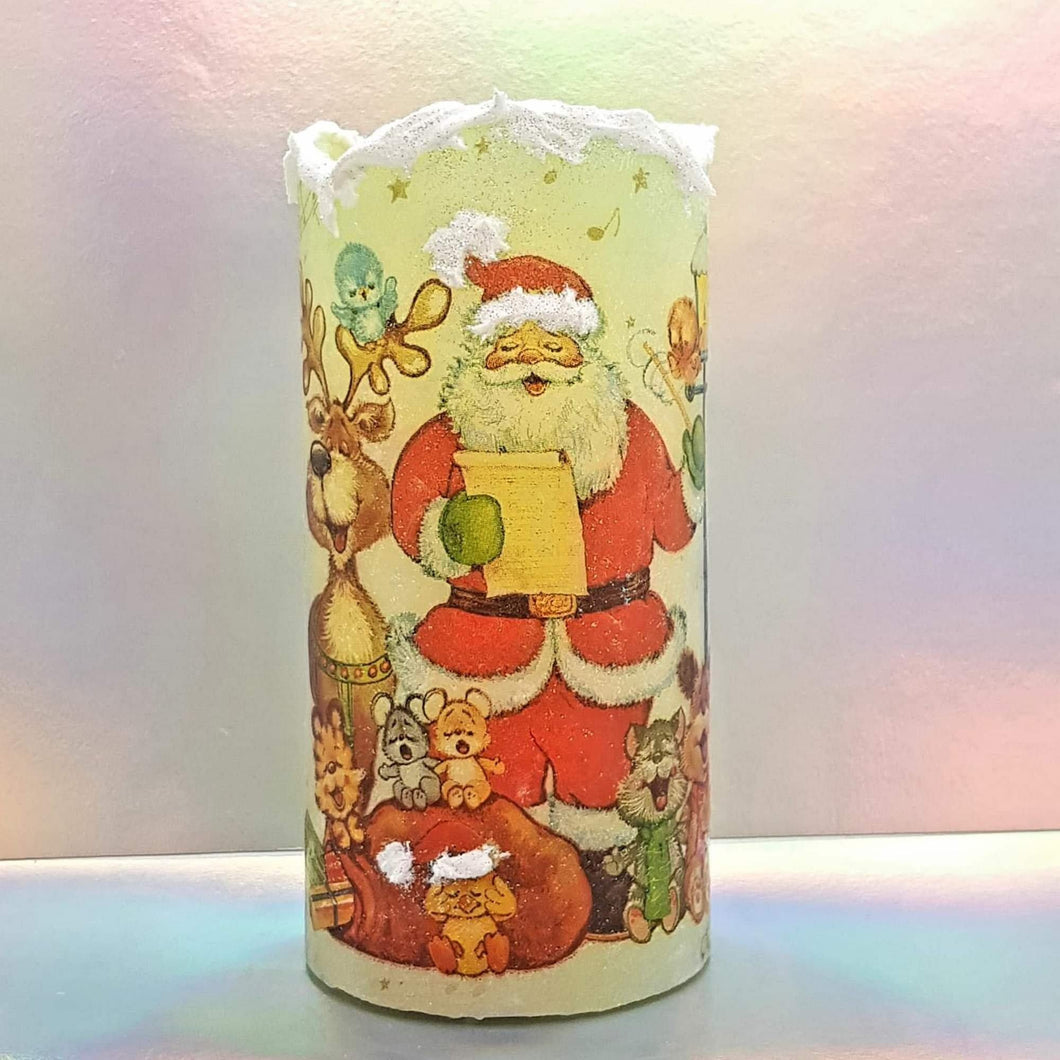 Christmas flameless pillar candle, unique decorative flickering LED candle decor night light, gift, safe for children and pets