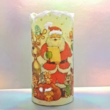 Load image into Gallery viewer, Christmas flameless pillar candle, unique decorative flickering LED candle decor night light, gift, safe for children and pets