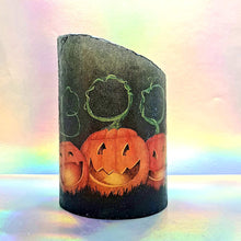 Load image into Gallery viewer, Halloween LED pillar candle, unique decorative flameless shimmer and sparkle candle decor night light, gift, safe for children and pets