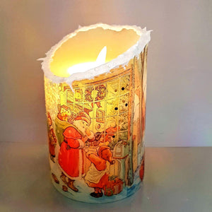 Christmas snow effect LED pillar candle, decorative flameless shimmer and sparkle candle decor night light, gift, safe for children and pets