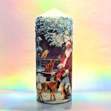 Load image into Gallery viewer, Decorative Christmas pillar candle with Santa, 3D effect unique home decor, Christmas centrepiece, gift for her, mom, friend, family