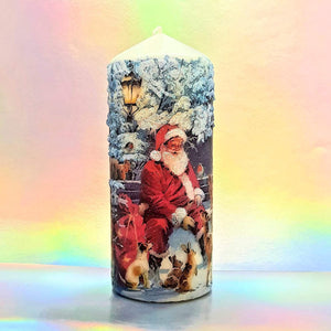 Decorative Christmas pillar candle with Santa, 3D effect unique home decor, Christmas centrepiece, gift for her, mom, friend, family