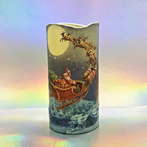Christmas LED pillar candle, Flying Santa flameless decorative candle, gift, night light, decor
